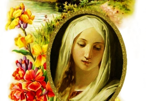 Sweet virgin mary and flowers