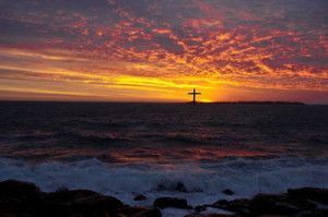 morning cross and sea
