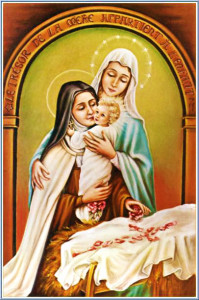 saint therese with baby jesus and virgin mary